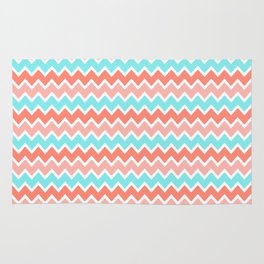 Coral Peach Pink and Aqua Turquoise Blue Chevron Rug