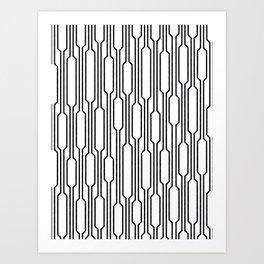 Spells - Geometric Lines Pattern (Black) Art Print