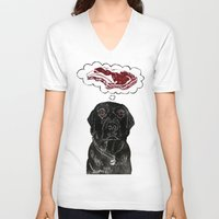 marley V-neck T-shirts featuring Marley Dreams of Meat by minouette