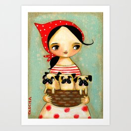 Basket Of Pug Puppies Cute artwork by Tascha Art Print