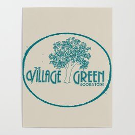 Village Green Bookstore Green on Tan Poster