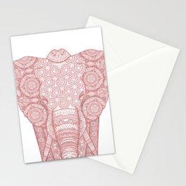 Pink mandala elephant Stationery Cards