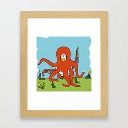 Eglantine la poule (the hen) dressed up as an octopus Framed Art Print