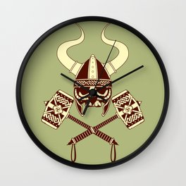 Viking skull v2 Wall Clock