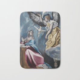 """El Greco (Domenikos Theotokopoulos) """"The Annunciation (1595-1600)"""" Bath Mat"""