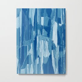 Blue And White Abstract Reflection Metal Print