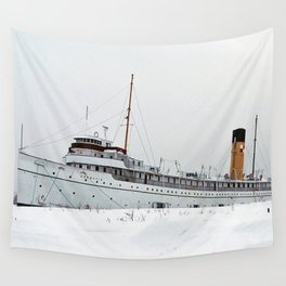 SS Keewatin in Winter White Wall Tapestry