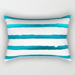 Watercolor Waves Blue Stripe Rectangular Pillow