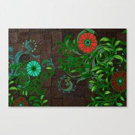 Floral - Florals - Flowers - Wood - Blues & Green Canvas Print