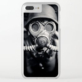 German Solider in a Gas Mask from World War II Clear iPhone Case