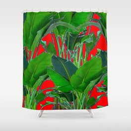 DECORATIVE RED & GREEN TROPICAL FOLIAGE ART Shower Curtain