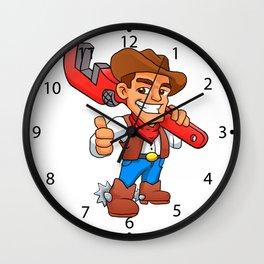 plumber cowboy Wall Clock