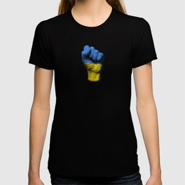 Ukrainian Flag on a Raised Clenched Fist T-shirt