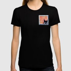 Cat and Bird Womens Fitted Tee Black X-LARGE