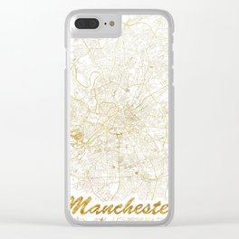 Manchester Map Gold Clear iPhone Case