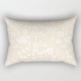 Peoples Story - White on Sand Rectangular Pillow