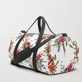 Elegant trendy pink green watercolor flowers Duffle Bag