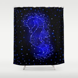 sea horse swims in lights Shower Curtain