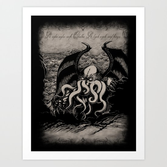 The Rise of Great Cthulhu Art Print
