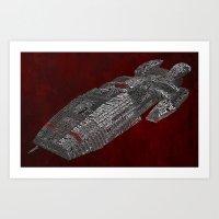 battlestar galactica Art Prints featuring Battlestar Galactica Poster Art by Skahfee Studios