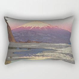 Fujiyama from Okitsu Views of Mount Fuji Vintage Beautiful Japanese Woodblock Print Hiroshi Yoshida Rectangular Pillow