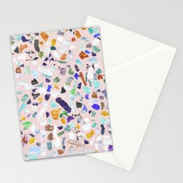 Trendy Colorful Shiny Stones Terrazzo Pink Design Stationery Cards