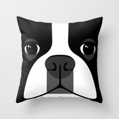 Boston Terrier Close Up Throw Pillow