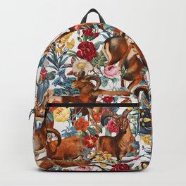 Capra Cylindricornis and Floral Pattern Backpack