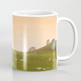 I - Decorated Easter eggs in a grassy hilly landscape at sunset Coffee Mug