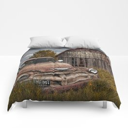 Rusted Pickup Truck with Mail Pouch Tobacco Barn Comforters