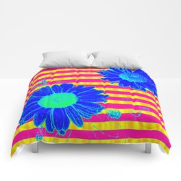 Bright Blue Daisies on Yellow and Pink Stripes Comforters