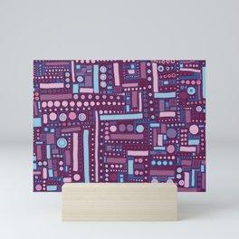 Funky Maze ~ Burgundy and Baby Blue Mini Art Print