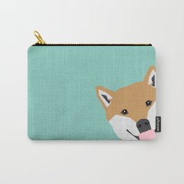 Shiba Inu Peek - cute shiba doge peeking funny dog art print mint turquoise customizable dog gift Carry-All Pouch