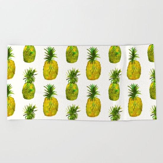 Pineapple vibes Beach Towel