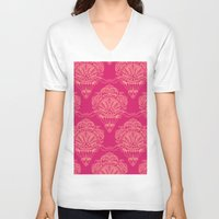 damask V-neck T-shirts featuring Damask by cactus studio