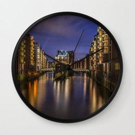 Hamburg At Night Wall Clock