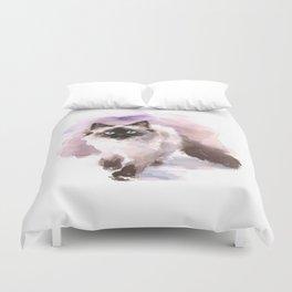 Watercolor Siamese Cat Duvet Cover