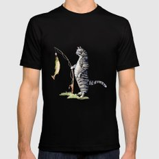 Cat with a Fish Mens Fitted Tee MEDIUM Black