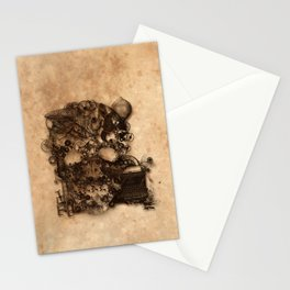 Vintage Steampunk Skull Brown Metal Gears Texture Stationery Cards