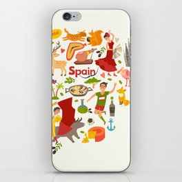 Spain map vector, contour. Illustrated map of Spain for children iPhone Skin