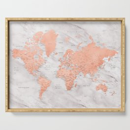 """Rose gold and marble world map with cities, """"Janine"""" Serving Tray"""