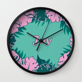 Pink tropical leaves,joy! Wall Clock