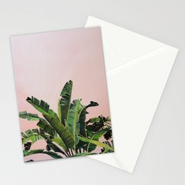 Tropical Palm leaves on pink Stationery Cards