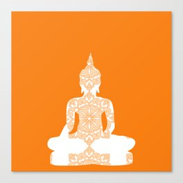 Yoga Art Buddha silhouette in orange Canvas Print