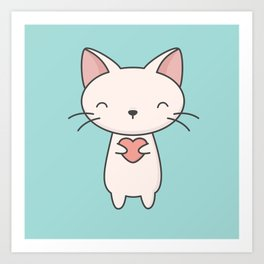 Kawaii Cute Cat With Heart Art Print