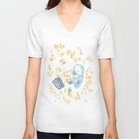 wall e V-neck T-shirts featuring Wall-E Kiss by ricolaa