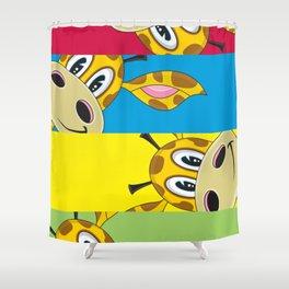 Adorably Cute Cartoon Giraffe Shower Curtain