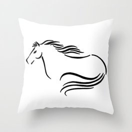 Swift Mare Stylized Inking Throw Pillow
