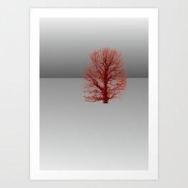 Red Tree in grey landscape Art Print