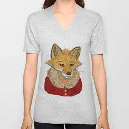 Sophisticated Fox Art Print Unisex V-Neck